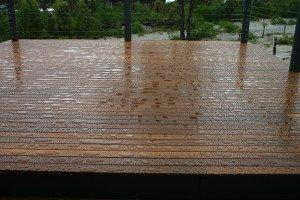 outdoor wooden floor repels water