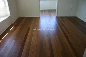 Water bas satin wooden floor