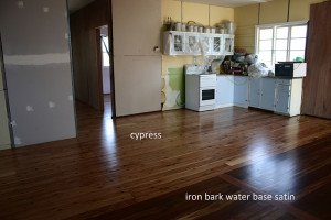cypress and iron bark wooden floor