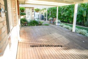 cypress deck before sanding