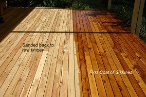 before and after sikkens coat outdoor wooden floor