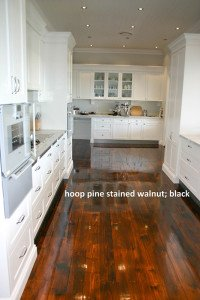 hoop pine stained walnut black floor