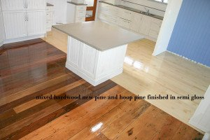 mixed hardwood new pine and hoop pine finished in semi gloss floor