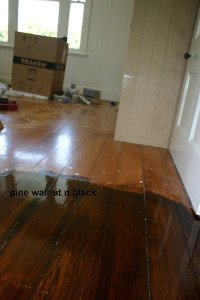 pine walnut and black floor
