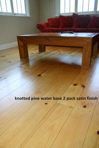 knotted pine water base satin finish floor