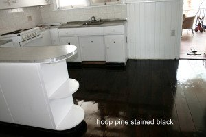 hoop pine stained black floor