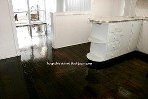 hoop pine stained black japan gloss floor