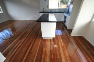 Kitchen polished wooden floor