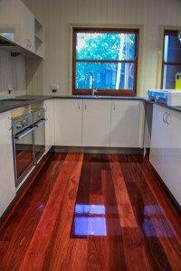 Kitchen polished wooden floor