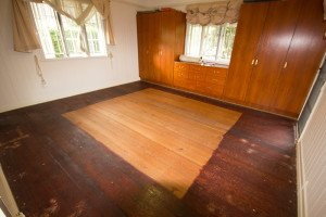 stained old wooden floor