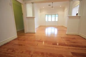 stained polished wooden floor