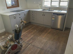 Old wooden floor in the kitchen
