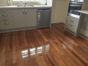 Polished wooden floor in the kitchen