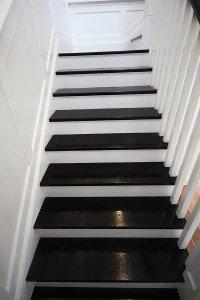 black wooden floor staircase
