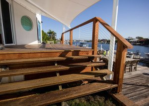 outdoor wooden floor and stairs
