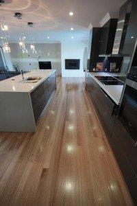 semi gloss wooden floor in the kitchen