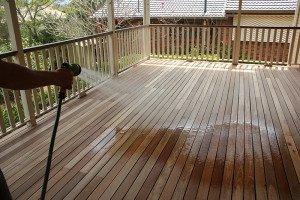 washing outdoor wooden floor