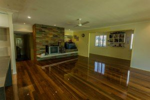 Living room polished wooden floor