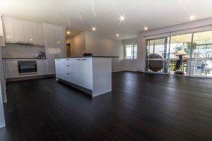 black wooden floor