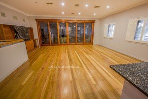 wooden floor with a water base coat