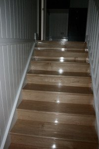 polished wooden stairs